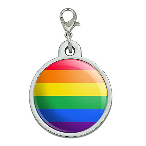GRAPHICS & MORE Rainbow Pride Gay Lesbian Contemporary Chrome Plated Metal Pet Dog Cat ID Tag - Large