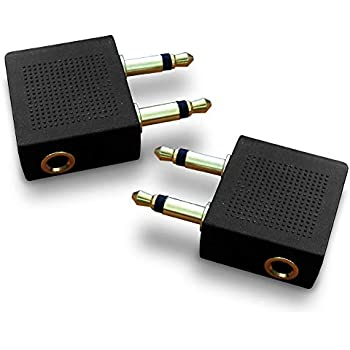 gold plated airplane flight headphone adapters (pack of 2) | allows you to  use your earphones with all in-flight media systems | this airline plane  headset