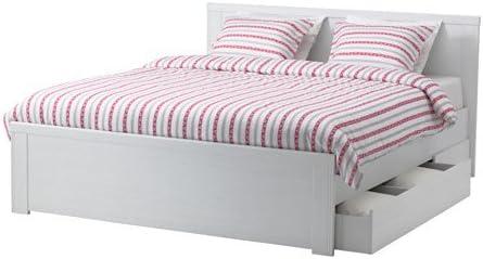 Ikea Brusali Cadre De Lit Avec 4 Boites De Rangement Blanc Lonset Amazon Fr Cuisine Maison