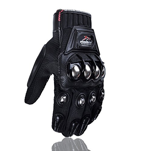 Lorsoul Alloy Steel Knuckle Motorcycle Motorbike Carbon Fiber Powersports Racing Tactical Paintball Gloves