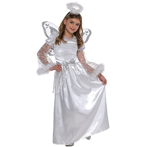 Child's Christmas Angel With Halo Nativity Fancy Dress Party Costume (Small (4-6))