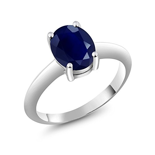 Gem Stone King 925 Sterling Silver Blue Sapphire Women's Solitaire Ring 2.50 Ct Oval Gemstone Birthstone (Size 7)