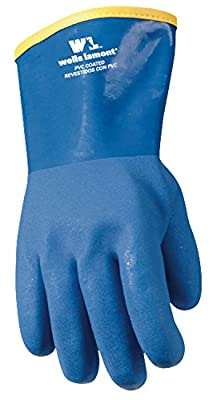 Wells Lamont Work Gloves with Winter Lining and Gauntlet Cuff, PVC Coated, Heavy Duty, Blue, One Size (194)
