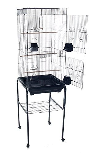PetcageMart Parakeet Cockatiel Tall Large Metal Wire Bird Cage with Stand, 18'' by 18'' by 62'', Black by PetcageMart