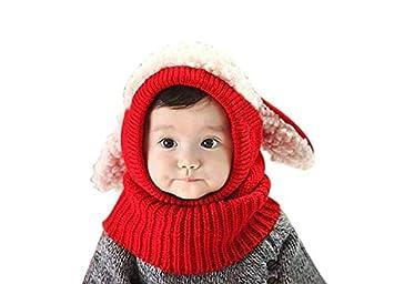 Hangaga Invierno de Lana para niños Bebé Chal Chal Abrigos Casquillo Coreano Cachorro de una Pieza Sombrero Rojo: Amazon.es: Deportes y aire libre