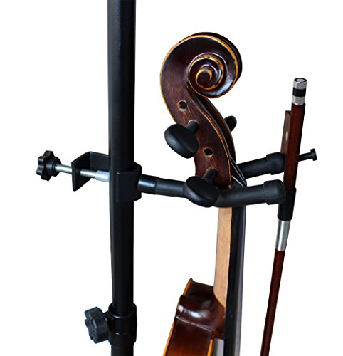 Vizcaya Violin Stand VLH10 Violin Hanger With Bow Peg Attachment for Music Stand/Microphone Stand (1 pack)