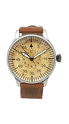 Fighter Pilot Watch - Mil-Tec Luftwaffe ME 109 Pilot Vintage Quartz Watch with Brown Leather Strap