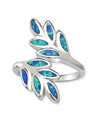 Sterling Silver Created Blue Opal Double Leaf Ring