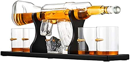 TTLIFE Juego de decantador de Pistola de Whisky, decantador de subfusil con Soporte de Madera y 4 Tazas de Bala para Vino, Brandy, Bourbon, Whisky - Decoración del hogar y Regalos