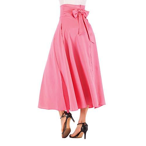 NREALY New Women's High Waist Pleated A Line Long Skirt Front Slit Belted Maxi Skirt(2XL, Pink) ()