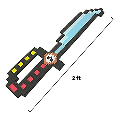 "BOLEY 8-Bit Pixel Diamond Foam Sword Set 24"" inch 4pk Weapons the Perfect Party Set Offering Hours of Pretend Play from Boley"