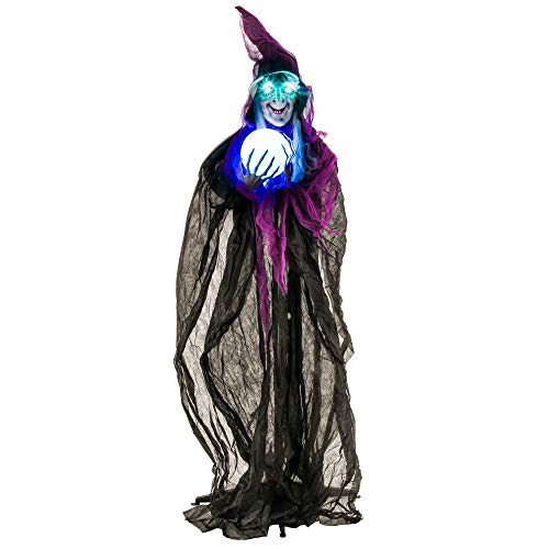 Halloween Haunters 6 Foot Animated Standing Spell Casting Purple Wicked Witch with Magic Crystal Ball Prop Decoration - Speaks, Cackles, Flashing Green LED Eyes, Light Up Crystal Ball, Witches Brew