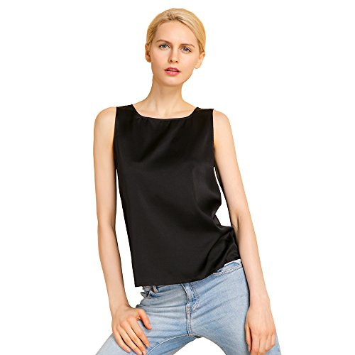 LilySilk Silk Tank Top Basic Square Collar Solid Pure Mulberry 19MM Charmeuse Soft Fashion Basic Comfy Black XL/14-16