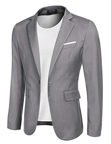 COOFANDY Men's Casual Blazer Jacket Slim Fit Sport Coats Lightweight One Button Suit Jacket (Light Grey, Small)