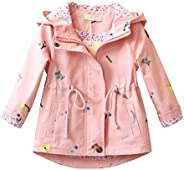 Evelin BEE Baby Girls Casual Spring Fall Hooded Windbreaker Jacket Embroidery Outwear Coat