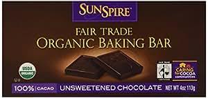 Sunspire Organic 100% Cocoa Unsweetened Chocolate Baking Bar, 4 oz