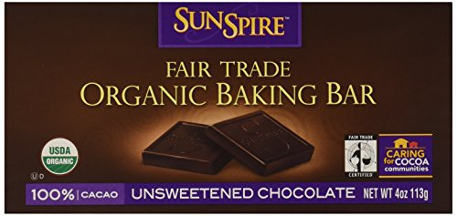 Sunspire Organic 100% Cocoa Unsweetened Chocolate Baking Bar, 4 oz ()