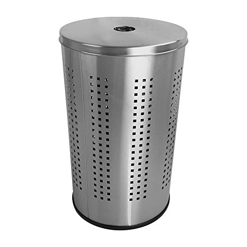 Brushed Stainless Steel Laundry Bin & Hamper | 46L Ventilated Stainless Steel Clothes Basket with Polished Lid | Life Time Warranty| (1)