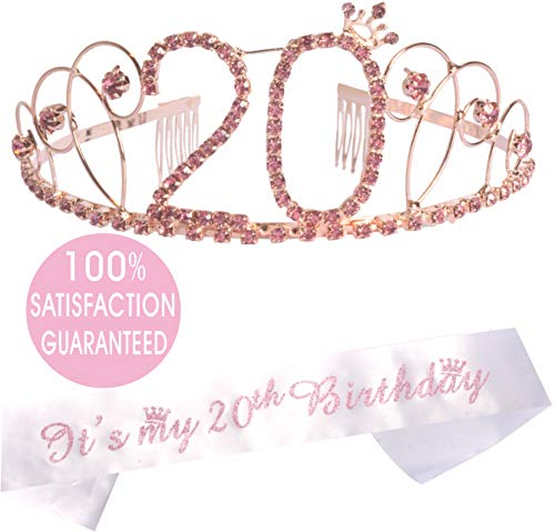 20th Birthday Tiara and Sash Pink, 20th Birthday Gifts for Girl, Happy 20th Birthday Party Supplies, 20 & Fabulous Glitter Satin Sash and Crystal Tiara Birthday Crown for 20th Birthday Party Supplies