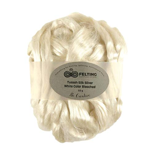 Tussah Silk Sliver Bleached White Color, Tussah Silk Roving Fiber for Soap Making, Dyeing, Wet Felting, Nuno Felting, Spinning, Paper Making, Crafts, Textile Projects