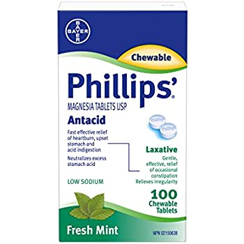 Phillips Magnesia Tablets Antacid 100 Chewable Tablets Fresh Mint