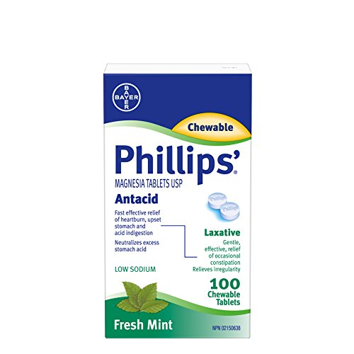 Magnesia Mint - Phillips' Magnesia Tablets Antacid 100 Chewable Tablets Fresh Mint