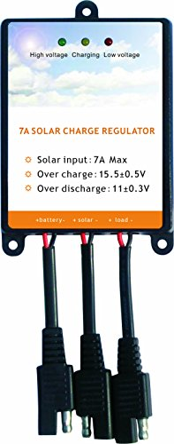 Sunway Solar Panels Charge Controller 12V Battery Regulator 7A For Safe Protection of 12Volt Solar Power Battery Charger, Solar Trickle Charger & Maintainer and Solar Powered System Kit (Solar Panels For Boats Best Price)