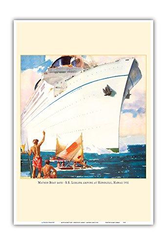 Matson Boat Days - Honolulu, Hawaii - SS Lurline Ocean Liner - Matson Line (Matson Navigation Company) - Vintage Hawaiian Travel Brochure c.1932 - Master Art Print - 13 x 19in
