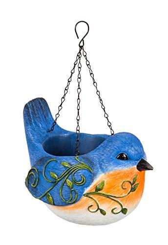 New Creative Hanging Portly Bird Blue Jay Polystone Planter ()