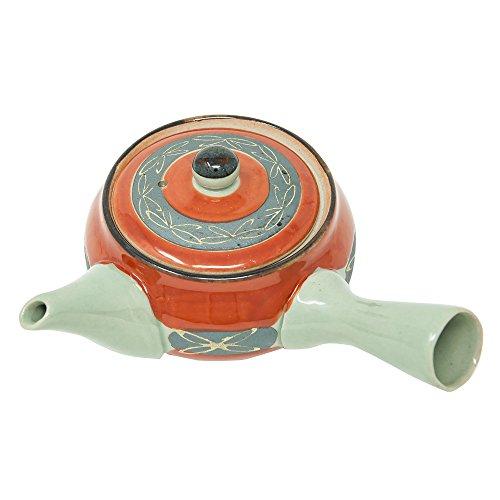 Japanese tea pot, Syumaki-Kinsai-Kyusu, 2.8 inch high and 3.9 inch in diameter, 10.1 Ounces