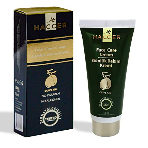 Haccer Face Care Cream - 1.7oz (50ml) Enriched Formula with Olive Oil, Sesame Seed Oil, Vanilla Fruit Extract and Natural & Organic Herbal Extracts - Anti Aging Moisturizer - Anti Wrinkle, by Haccer