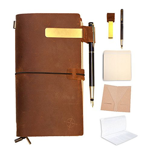 Leather Traveler Case (Refillable Leather Journal | Refillable Travelers Notebook BUNDLE | FREE FOUNTAIN PEN| Pen holder|Gift Box|Clip|Zipper Lock Bag | Card Pocket and 3 Paper Notes For Writing, Drawing, Sketching)