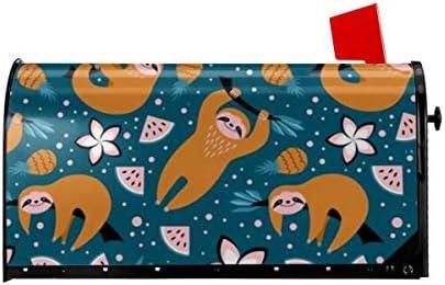 ようこそメールボックスカバーかわいいナマケモノ果物と花磁気包装レターボックスポストボックスカバー庭の庭の装飾21x18 インチ