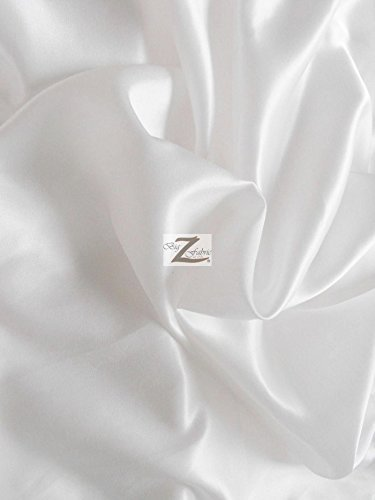 SOLID SHINY BRIDAL SATIN FABRIC - White - 58/60 WIDTH SOLD BY THE YARD by Big Z Fabric