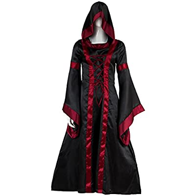 Sinastar Halloween Cosplay Women Western Medieval Square-Cut Collar Long Trumpet Sleeved Hooded Dresses