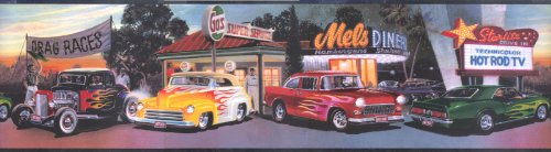 - Mel's Diner Cars Wallpaper Border Chevy Ford Flames