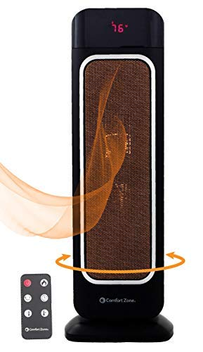Oscillating Space Heater – Ceramic Forced Fan Heating with Stay Cool Housing – Tower with Remote Control, Digital…