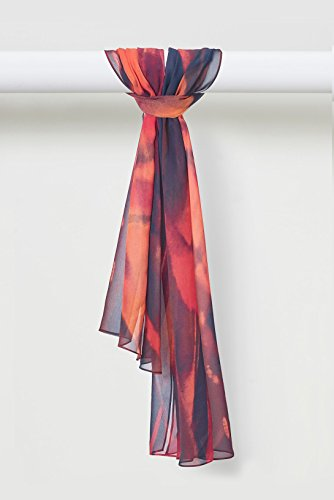 Fire Gaze Scarf Smooth Silk Chiffon in Reds by Louis Jane  (''Where Nature Meets Art''TM)