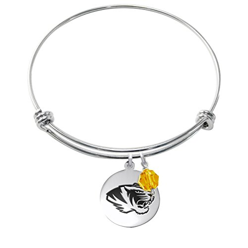 College Jewelry Missouri Tigers Stainless Steel Adjustable Bangle Bracelet with 17mm Round Charm & Crystal Accent
