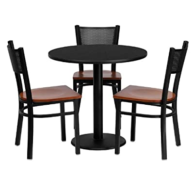 Flash Furniture 30'' Round Black Laminate Table Set with 3 Grid Back Metal Chairs - Cherry Wood Seat - Table and Chair Set Set Includes 3 Chairs, Round Table Top and Round Base Designed for Commercial and Home Use - kitchen-dining-room-furniture, kitchen-dining-room, dining-sets - 41wZ1q1ZNwL. SS400  -