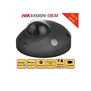 4MP PoE Security IP Camera - Mini Dome,Indoor and Outdoor,Wide Angle 2.8mm Lens,Built in Microphone, SD Card Slot Audio Alarm in/Out Compatible with Hikvision DS-2CD2543G0-IS English Version