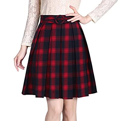 Wincolor Women's High Waisted Plaid Checked A-line Pleated Midi Skirt Knee Length