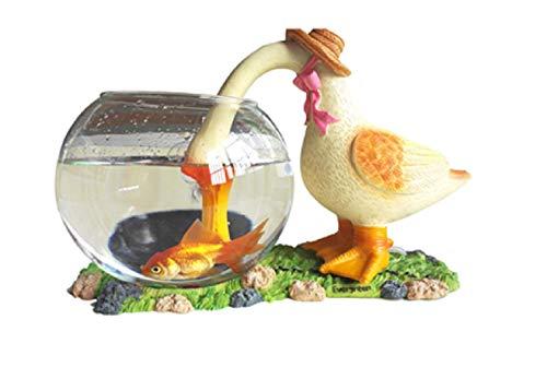 Azaina_ade Glass Fish Bowl Aquarium Round Betta - Synthetic Resin Straw Duck - Home Decoration