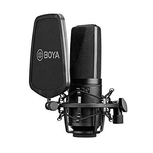 BOYA BY-M1000 Professional Large Diaphragm Condenser Microphone Podcast Mic Kit Support Cardioid/Omnidirectional/Bidirectional with Double-layer Pop Filter Shock Mount XLR Cable Singer Vocals