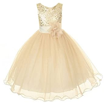 Amazon.com: Kids Dream Little Girls Gold Sequin Bodice Floral ...