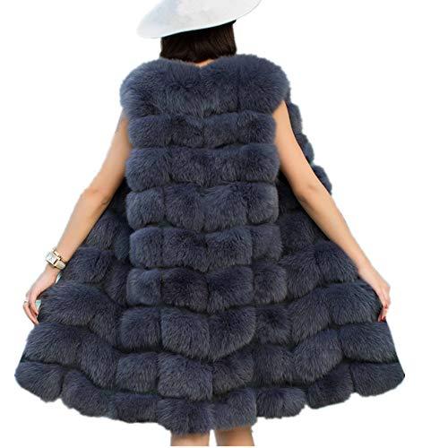 Women Faux Fur Vest Coat Winter Fashion Artifical Fur Vest Coat Long Fur Vest Waistcoat Female Faux Fox Fur Vest (XL, Gray) by Lisa Colly
