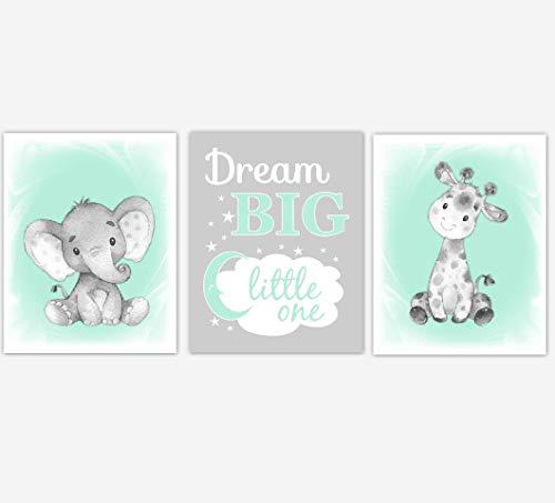 - Safari Animals Baby Girl Nursery Wall Art Pictures Mint Green Elephant Giraffe Dream Big Baby Nursery Decor SET OF 3 UNFRAMED PRINTS