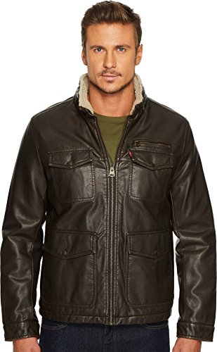 Levi's Men's Faux Leather Four-Pocket Sherpa Lined Military Jacket Dark Brown X-Large (Men Coat Leather Dress)