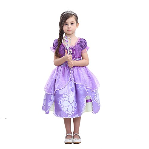 Lifereal Princes Sofia Costume Dress with Tiara, Wand for Birthdays, Halloween, Parties (Purple, 130cm(6-8Y))]()