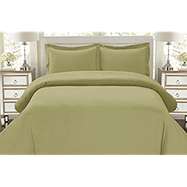 Hotel Luxury 3pc Duvet Cover Set-ON SALE TODAY-1500 Thread Count Egyptian Quality Ultra Silky Soft Top Quality Premium Bedding Collection, 100% Money Back Guarantee -King Size Sage